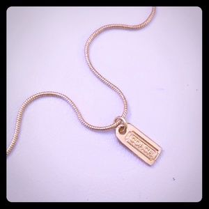 Authentic Coach Tag Charm Gold Plated Necklace